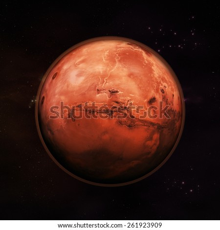Planet Mars in space, visible red rock planet with thin red atmosphere with distance stars in the background. Elements of this image supplied by NASA. - stock photo