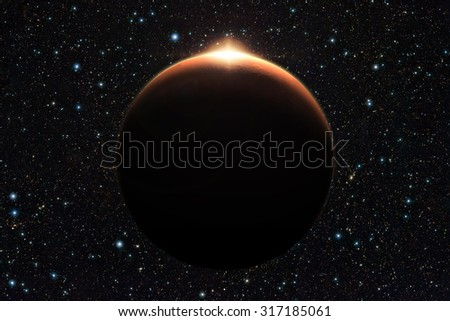 Planet Mars with sunrise in space (Elements of this image furnished by NASA) - stock photo