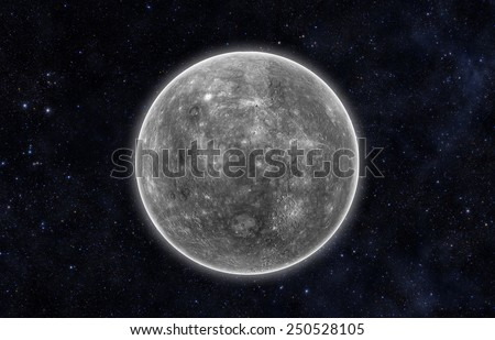 Planet Mercury - Elements of this Image Furnished By Nasa - stock photo
