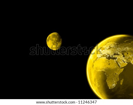 Planet never sleeps communication  concept with Earth at night showing lights on. - stock photo