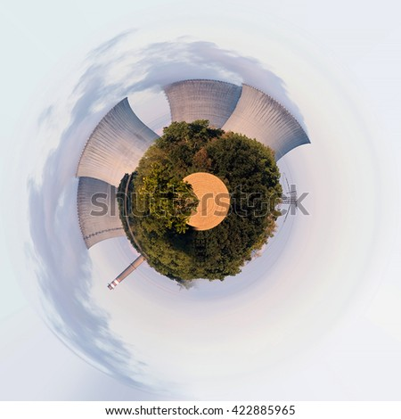 Planet of Cooling towers at the nuclear power plant in Dukovany, Czech republic. Little planet ecology concept. Tiny planet projection - stock photo