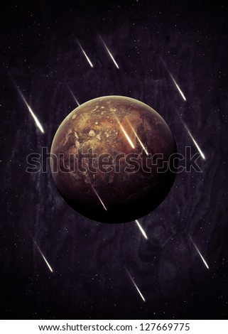 Planet over the nebulae in space with comets - stock photo