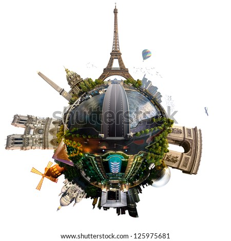 Planet Paris - Miniature planet of Paris, France, with all important buildings and attractions of the city, isolated on white - stock photo