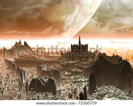 Planet-rise over Futuristic Alien Metropolis - stock photo