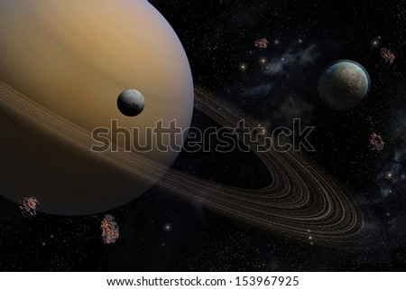 planet Saturn along with its satellites in space, close-up - stock photo