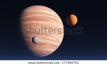 Planet similar to Jupiter in the night sky with two satellites - stock photo