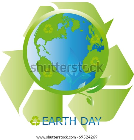 Planet symbol on Earth Day - stock photo