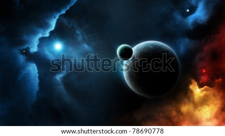 Planet system blue star in deep space - stock photo