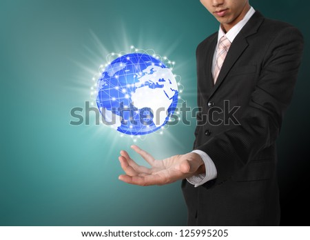 Planet system social network concept on business hand - stock photo