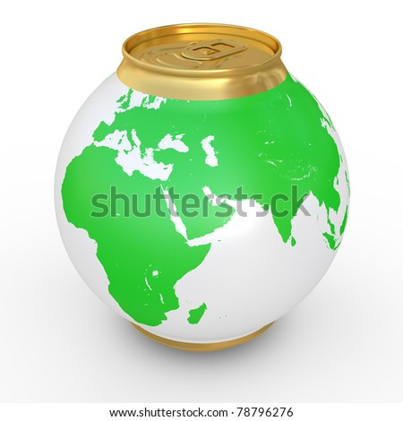 Planet the earth in the form of a beer can - stock photo