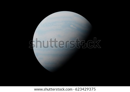 planet Uranus isolated on black background (3d illustration, elements of this image are furnished by NASA)