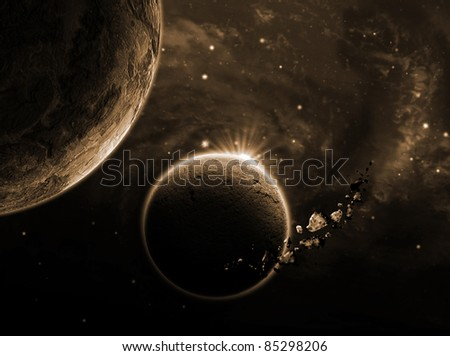 planet with an asteroid in the starry background - stock photo
