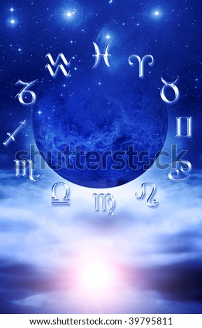 planet with astrological signs over starry background with mystical light - stock photo