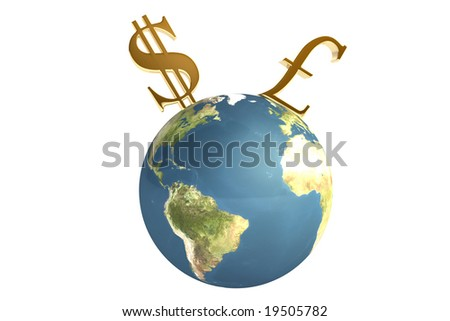 Planet With Dollar And Pound Symbols