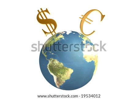 Planet With Euro And Dollar Symbols