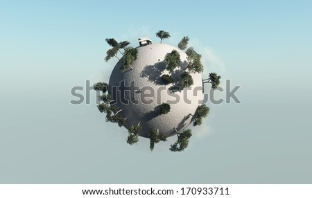 Planet with its ecosystem
