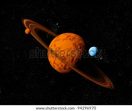 Planet with ring and moons. Abstract background of deep space. In the far future travel. New technologies and resources. - stock photo