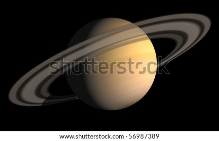 Planet with ring, 3d rendering