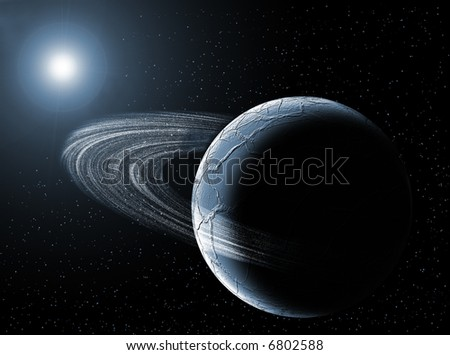 Planet with ring in the universe with the sun