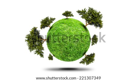 Planet With Tree - stock photo