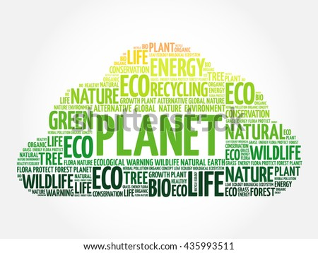 Planet word cloud, conceptual green ecology background - stock photo