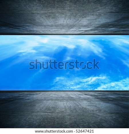 planetary atomosphere seen from a sci-fi style space station - stock photo