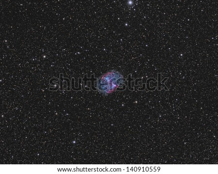 Planetary Nebula Messier 27 - A planetary nebula about 1300 light years away in the constellation Velpecula - stock photo