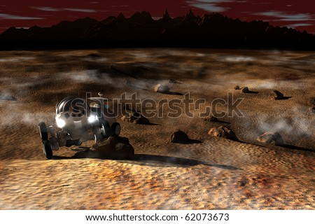 Planetary rover during the reconnaissance - stock photo