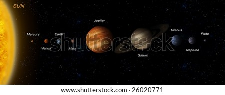 Planetary system sun and other planets in space - stock photo