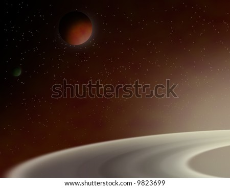 Planetary view in space - stock photo