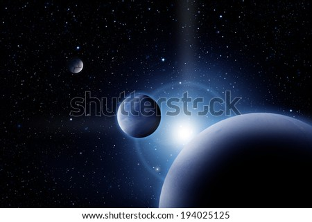 Planets against sunrise in deep outer space - stock photo