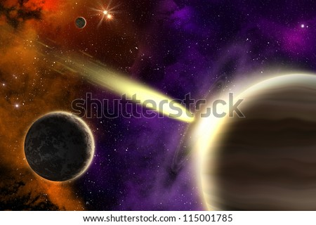 Planets and comet in deep space. Concept apocalypse. - stock photo