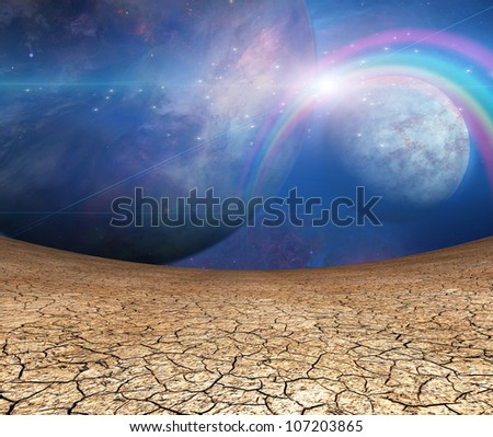 Planets and cracked earth - stock photo