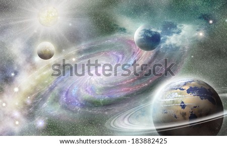 planets and nebula space of the on background spiral galaxy - stock photo