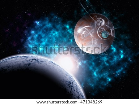Planets and nebula with star in the background and gas clouds