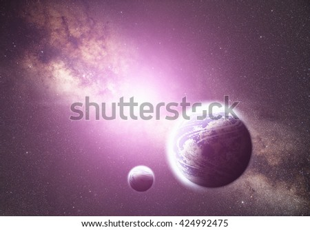 Planets and sunrise on a milky way background. No elements of NASA or other third party.