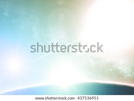 Planets and sunrise on a starry background. Planet is digital illustration, stars are my astrophotography work. No elements of NASA or other third party. - stock photo