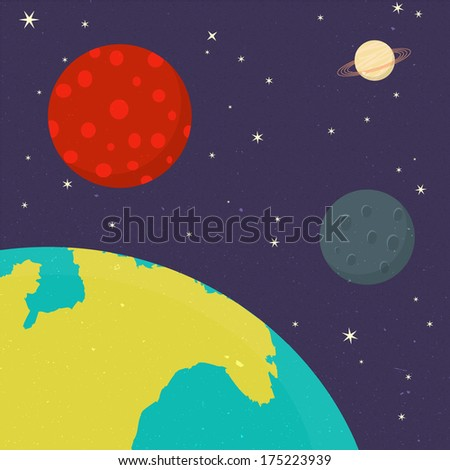 Planets background of Solar System - stock photo