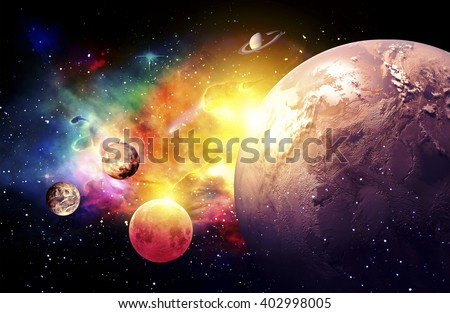 Planets Galaxy, the over light - Elements of this Image Furnished by NASA - stock photo