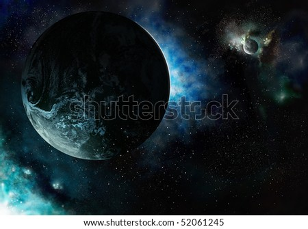 Planets in cosmic glowing clouds in starry space - stock photo