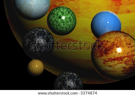 Planets in cosmos - stock photo