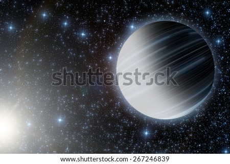 Planets in distant stellar system. No elements of NASA. Digital illustration. - stock photo
