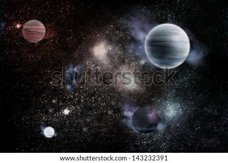 planets in fantastic space - stock photo