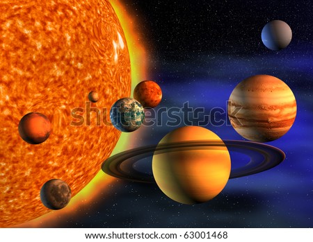 Planets in solar system - 3d render illustration - stock photo