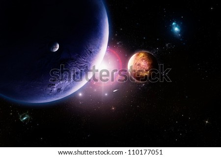 Planets in space against bright star.