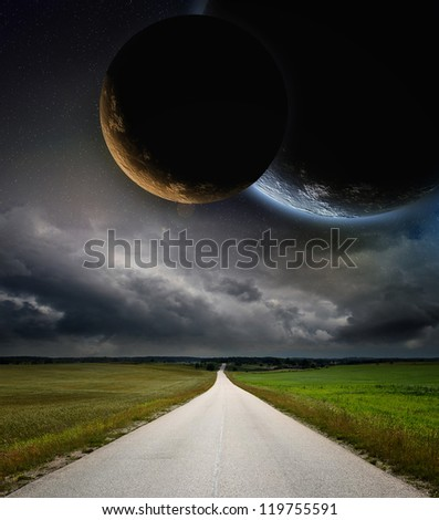Planets in space and road - stock photo