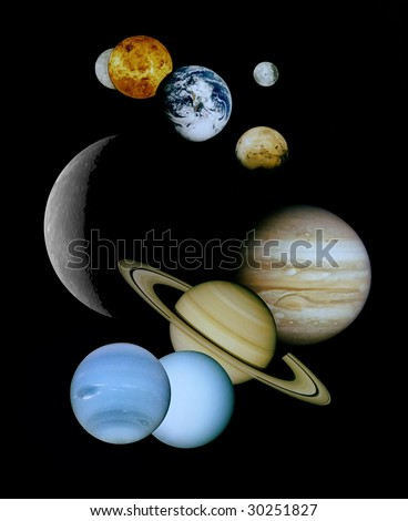 Planets in space. Source image courtesy of NASA - stock photo