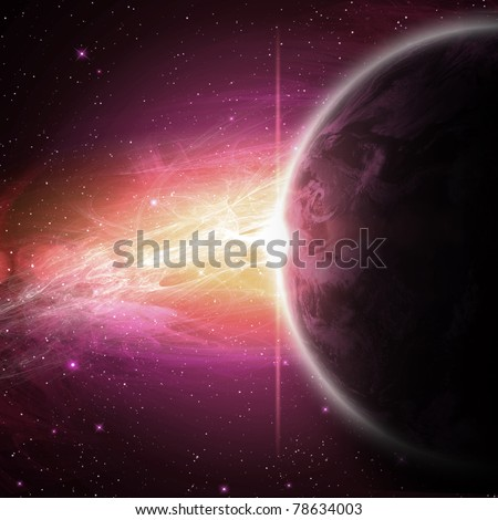 planets in the space and stars with galaxes - stock photo