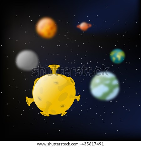 Planets of  solar system.  Moon and Jupiter. Mars and Earth.  milky way. Black slanting and stars - stock photo