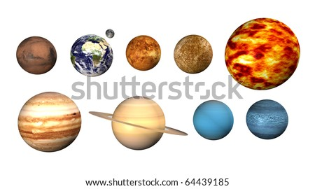 Planets on white background - stock photo